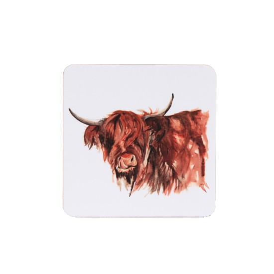 Meg Hawkins Highland Cow Coaster White